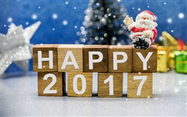 Preview wallpaper Happy 2017, New Year theme, wooden cubes, Christmas Santa