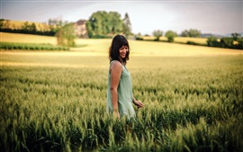 Preview wallpaper Happy girl in the summer wheat field