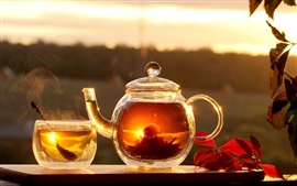 Hot tea, cup, sun, steam, red leaves