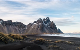 Iceland, mountains, coast, sea