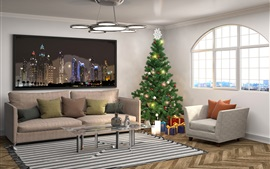 Preview wallpaper Interior design, Christmas tree, pillow, sofa, window, living room