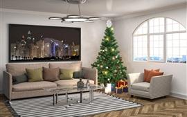 미리보기 배경 화면 인테리어 디자인, 크리스마스 트리, 베개, 소파, 창문, 거실