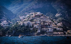 Preview wallpaper Italy, Positano, mountains, houses, sea, boats