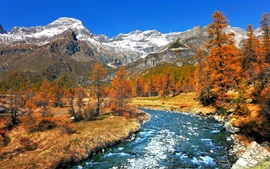 Italy nature scenery, trees, snow, mountains, river, autumn