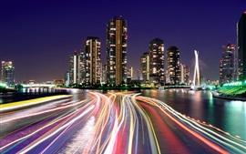 Aperçu fond d'écran Japon, Tokyo, soir, lumières, gratte-ciel, ville, nuit