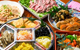 Japanese cuisine, vegetables, seafood, meat, delicious food