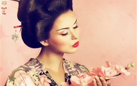 Preview wallpaper Japanese girl, kimono, classic hairstyle