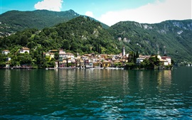 Preview wallpaper Lake Como, Italy, village, mountains, trees
