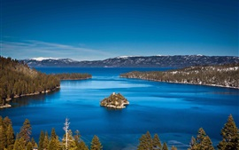 Preview wallpaper Lake Tahoe, California, USA, mountains, island, blue sky