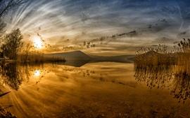 Lago ao pôr do sol, juncos, reflexão da água