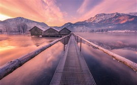 Preview wallpaper Lake, houses, bridge, mountains, winter, snow, dusk