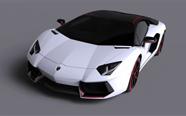 Preview wallpaper Lamborghini LP700-4 Aventador white supercar, gray background