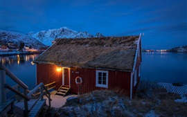 Preview wallpaper Lofoten, Norway, houses, mountains, winter, snow, bay, night, lights