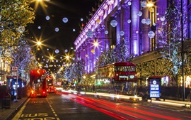 Preview wallpaper London, England, city street, Christmas, holiday lights
