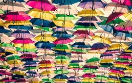 Lots of colorful umbrellas