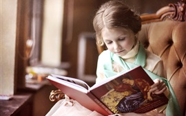 Preview wallpaper Lovely little girl reading a book, chair