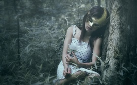 Preview wallpaper Mask girl in forest, sleep