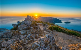 Preview wallpaper Mediterranean Sea, Spain, Majorca, mountains, sea, sunrise