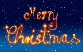 Preview wallpaper Merry Christmas, fireworks, sparklers, blue background