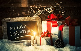 Preview wallpaper Merry Christmas, gifts, candle light, snow
