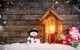 Preview wallpaper Merry Christmas, snow, snowman, candles, balls, gift