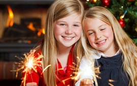 Merry Christmas, two little girls play the sparklers, happy children