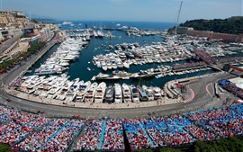 Preview wallpaper Monaco, Monte-Carlo, city, Formula 1, racing, yachts, boats, dock
