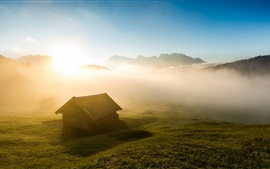 Preview wallpaper Morning, house, fog, grass, sunrise