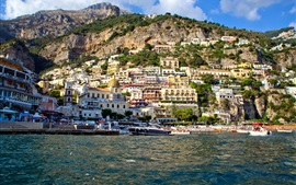 Mountain, slope, houses, bay, yacht, Salerno, Positano, Italy
