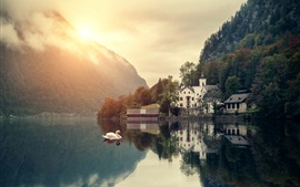 Preview wallpaper Mountains, lake, swans, houses, trees, sunrise, clouds, dawn