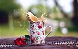 Preview wallpaper Mug, coffee splash, rose