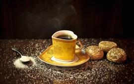Taza de la taza, corazón del amor, cuchara, té, azúcar blanco