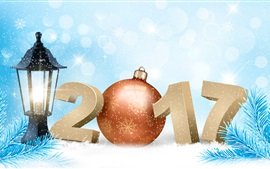 Preview wallpaper New Year 2017, spruce twigs, snowflakes, winter, vector