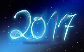 Aperçu fond d'écran Nouvel An 2017, étoiles, style bleu