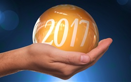 New Year 2017, yellow ball on hand