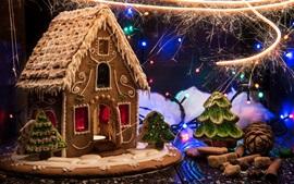 Vorschau des Hintergrundbilder Neujahr, Weihnachten Lebensmittel, Cookie-Haus, Feuerwerk