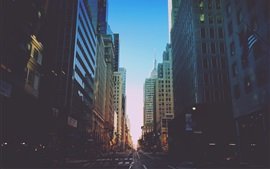 New York, city, road, traffic, buildings, dusk, USA