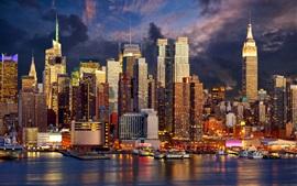 Нью-Йорк, небоскребы, побережье, огни, ночь, Манхэттен, США