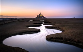Normandie, Mont Saint-Michel, France, river, fence, dusk