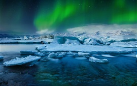 Northern lights, Iceland, glacial, frozen, snow, night, sea