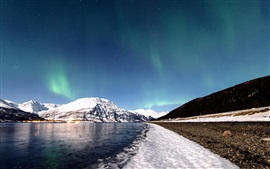Preview wallpaper Norway, winter, snow, mountains, river, sky, northern lights, stars