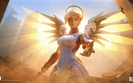 Preview wallpaper Overwatch, Blizzard games, girl, wings