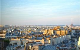 Париж, город, утро, солнце, Франция