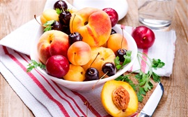 Preview wallpaper Peaches, apricots, cherries, fruit photography