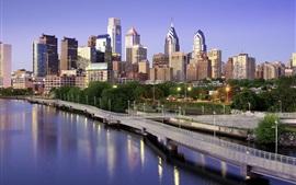 Филадельфия, США, небоскребы, мост, озеро, город