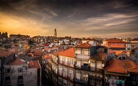 Preview wallpaper Portugal, city, houses, dusk
