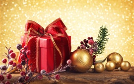 Preview wallpaper Red box gift, golden Christmas balls, red berries