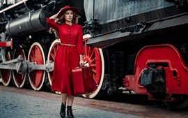 Preview wallpaper Red dress girl, hat, suitcase, tours, train
