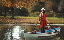 Preview wallpaper Red dress girl in a boat