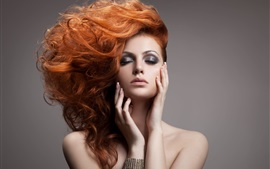 Preview wallpaper Red hair sexy fashion girl, makeup, hair style